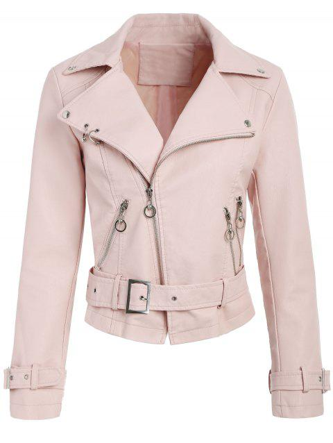 Zip Up Faux Leather Belted Jacket - PINK BUBBLEGUM M