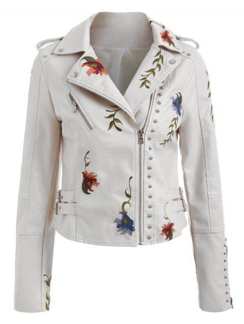 Embroidery Rivet Faux Leather Jacket - WARM WHITE XL