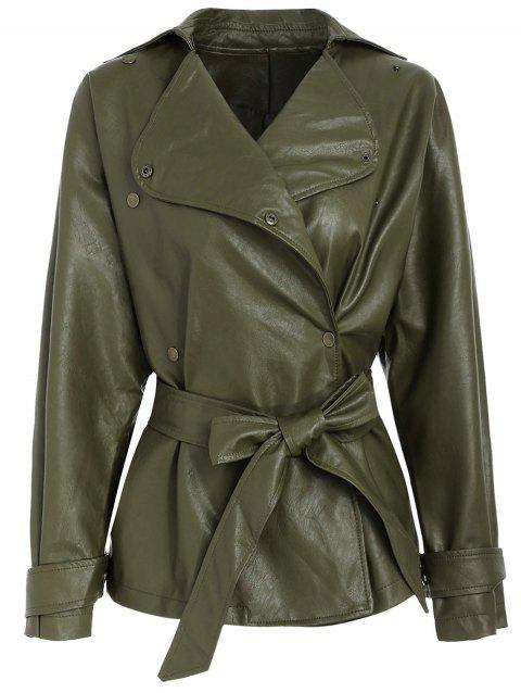 Faux Leather Belted Biker Jacket - ARMY GREEN M