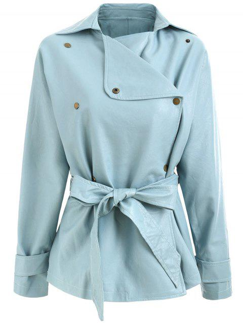 1302cd6b4 17% OFF  2019 Faux Leather Belted Biker Jacket In BABY BLUE L ...