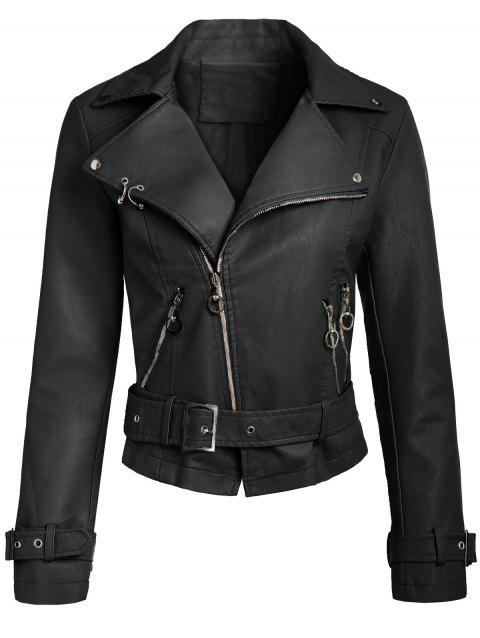 Zip Up Faux Leather Belted Jacket - BLACK XL