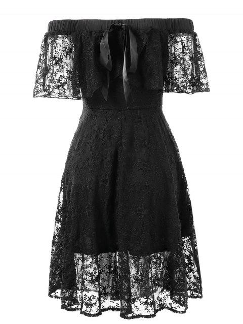 Bare Shoulder Flounce Lace Dress - BLACK L