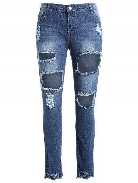 Fringed Edge Plus Size Ripped Jeans - DENIM BLUE 3X