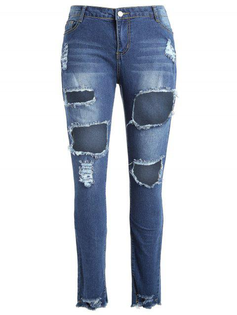 See Through Mesh Plus Size Ripped Jeans - DENIM BLUE 3X