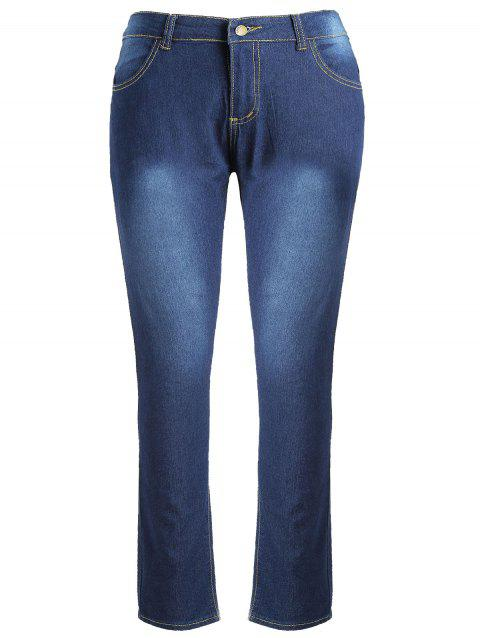 High Waisted Plus Size Slim Fit Jeans - DARK SLATE BLUE 5X