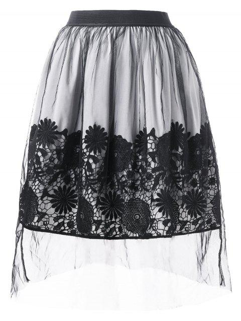 High Waist Lace Applique Mesh Overlap Skirt - BLACK L
