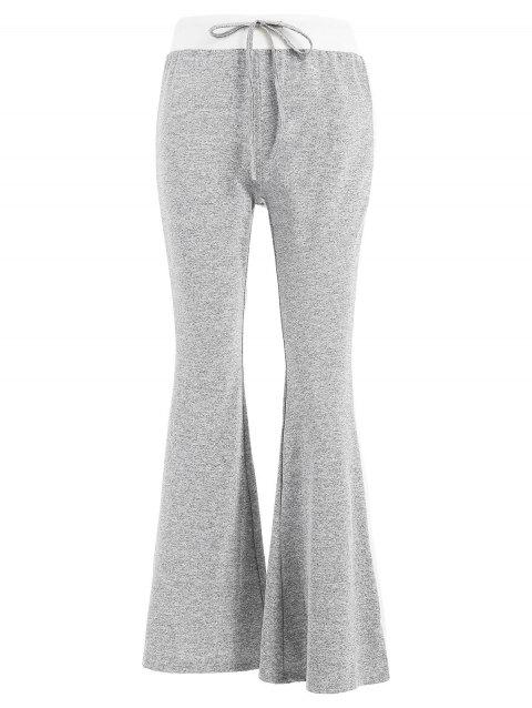 Color Trim Sportive Bell Bottom Pants - LIGHT GRAY L