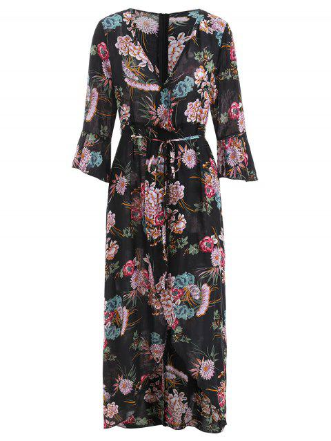 Floral Print Surplice Maxi Dress - BLACK XL