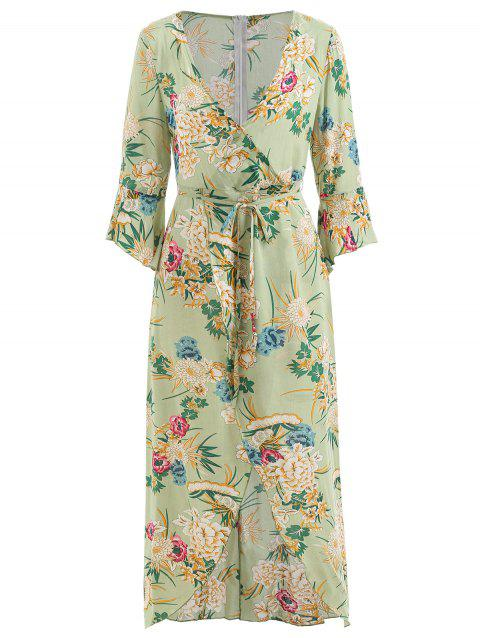 Floral Print Surplice Maxi Dress - MINT GREEN XL