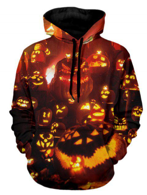 Sweat à capuche imprimé citrouille - Orange Halloween 2XL