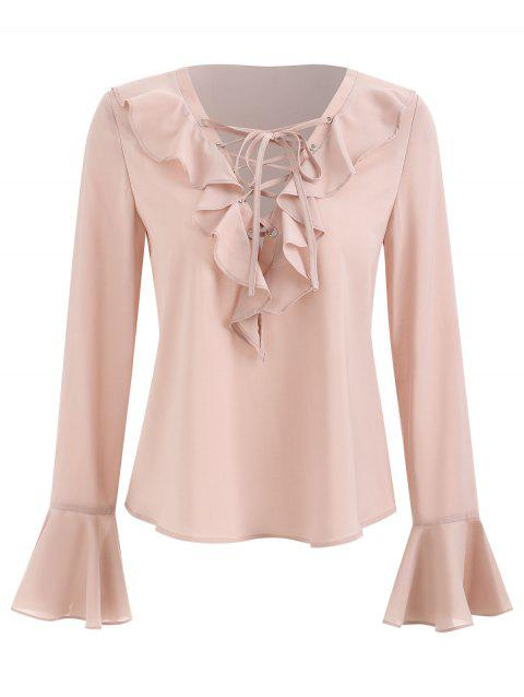 Lace Up Flare Sleeve Ruffled Blouse - LIGHT PINK XL