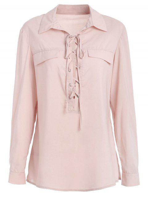 Lace Up Low Cut Long Sleeve Shirt - LIGHT PINK 2XL