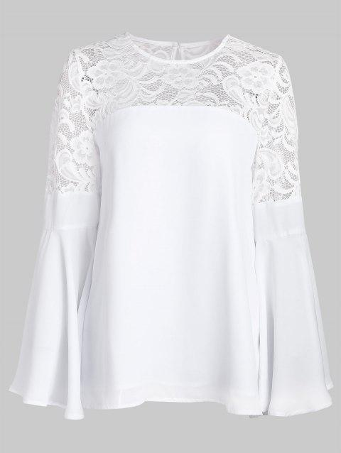 Lace Panel Trumpet Sleeve Tunic Blouse - MILK WHITE M