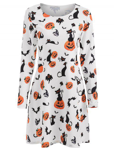 Halloween Pumpkins Print High Waist Dress - MILK WHITE L