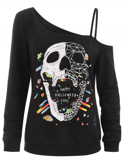 Skull Print Skew Neck Halloween Sweatshirt - BLACK S