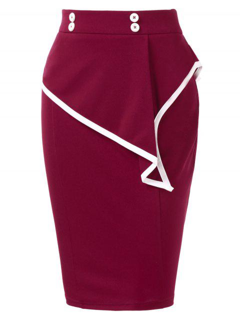 Ruffles High Waist Skirt - RED WINE L