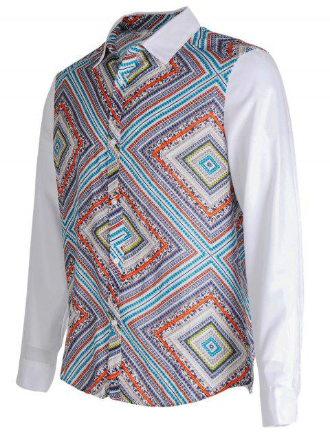 33ac4f570d009 41% OFF  2019 Ethnic Style Geometric Printed Long Sleeve Shirt In ...