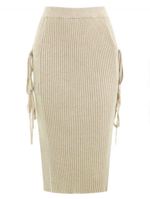 Lace Up Side Split Knit Skirt - LIGHT KHAKI ONE SIZE