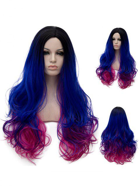 Long Side Parting Colorful Wavy Synthetic Rainbow Party Wig - multicolor