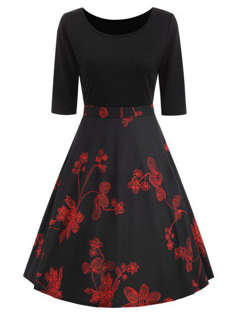 Knotted Floral Print Fit and Flare Dress - BLACK M