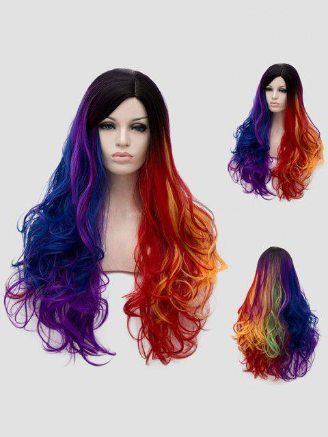 Long Side Parting Colorful Wavy Synthetic Party Rainbow Wig - multicolor