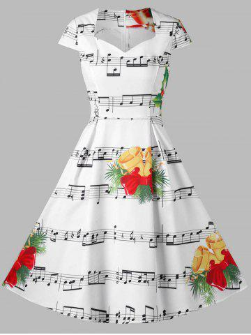 christmas bell and music note print dress - Christmas Dresses