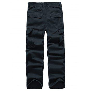 Solid Color Simple Zip Fly Cargo Pants - DARK SLATE BLUE XL