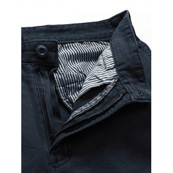 Solid Color Simple Zip Fly Cargo Pants - DARK SLATE BLUE S