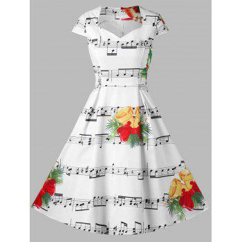 Christmas Bell and Music Note Print Dress