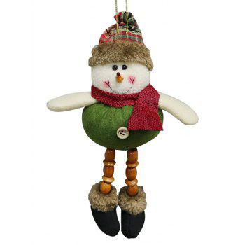 Christmas Theme Snowman Beaded Hanging Decoration Gift Doll - JUNGLE GREEN