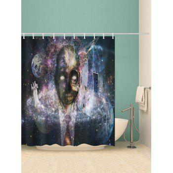 Rideau de douche imperméable Halloween Galaxy Skull Print - multicolor W59 X L71 INCH