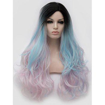 Long Side Parting Colorful Rainbow Wavy Party Wig - multicolor