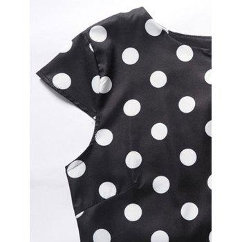 Vintage Dotted Pin Up Dress - BLACK 2XL