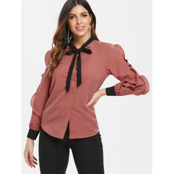 Ruffled Trim Long Sleeve Button Up Blouse - CHESTNUT RED M