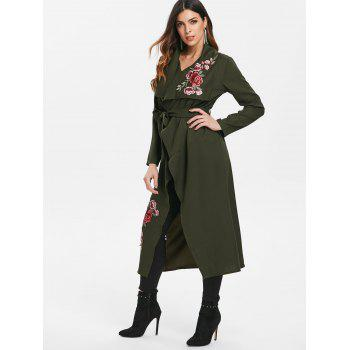 Floral Embroidery Belted Duster Coat - DARK FOREST GREEN M