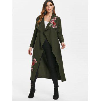 Floral Embroidery Belted Duster Coat - DARK FOREST GREEN XL