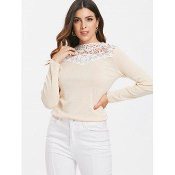 Crochet Collar Long Sleeve Fitted T-shirt - BLANCHED ALMOND M