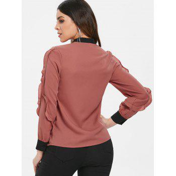 Ruffled Trim Long Sleeve Button Up Blouse - CHESTNUT RED XL
