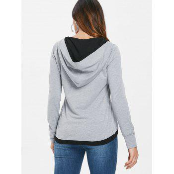 Color Block Button Up Hoodie - LIGHT GRAY M