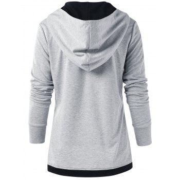 Color Block Button Up Hoodie - LIGHT GRAY L