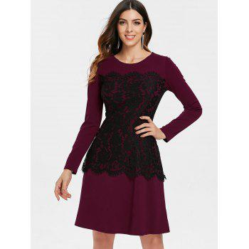 Lace Insert High Waist Dress - FIREBRICK XL