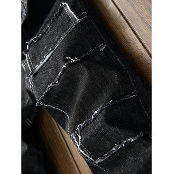 Seam Patchwork Stretch Jeans - BLACK 36