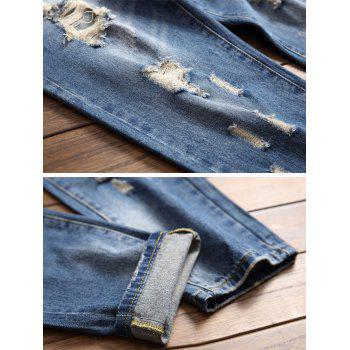Ripped Nine Minutes of Pencil Jeans - JEANS BLUE 34