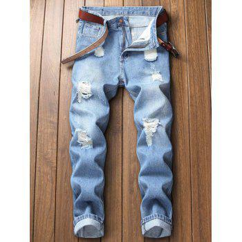 Hole Ripped Washed Nine Minutes of Jeans - LIGHT BLUE 32