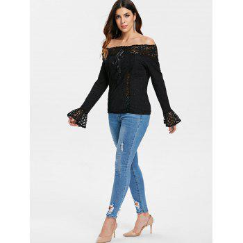 Long Sleeve Bare Shoulder Blouse with Tie - BLACK L
