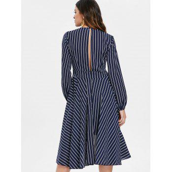 Long Sleeve Cutout Back Striped Flowing Dress - multicolor L