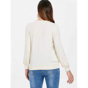 Long Sleeve Blouson Blouse - WARM WHITE 2XL