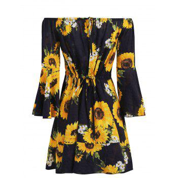 Bell Sleeve Off Shoulder Floral Print Dress - MIDNIGHT BLUE L