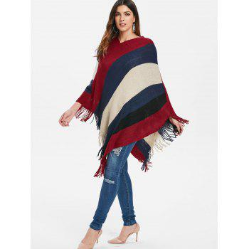 Contrast Color Fringed Edge Sweater Cape - RED WINE M