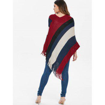 Contrast Color Fringed Edge Sweater Cape - RED WINE L